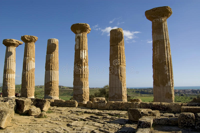Greek columns. Columns of the old greek temple in Agrigento, Sicily,Italy royalty free stock images