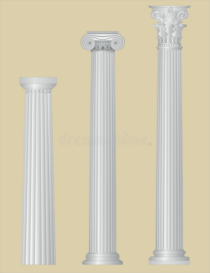 Greek columns with details royalty free illustration