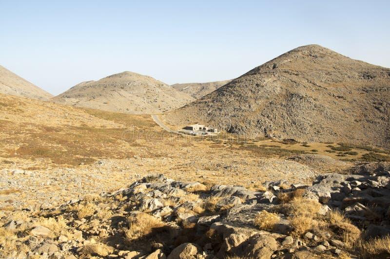Greek Crete mountain range with highest mountain Ida Psiloritis, very dry hard terrain with sharp rocks and stones, natura park. Hard difficult terrain royalty free stock photos
