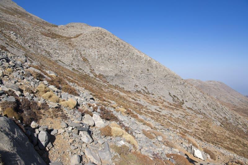 Greek Crete mountain range with highest mountain Ida Psiloritis, very dry hard terrain with sharp rocks and stones, natura park. Hard difficult terrain royalty free stock image