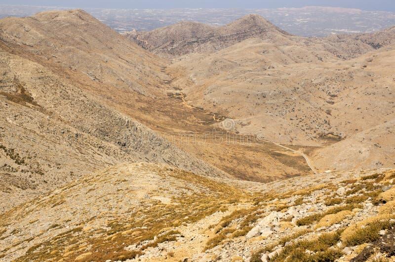 Greek Crete mountain range with highest mountain Ida Psiloritis, very dry hard terrain with sharp rocks and stones, natura park. Hard difficult terrain stock photos
