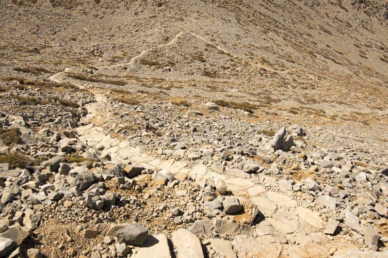 Greek Crete mountain range with highest mountain Ida Psiloritis, very dry hard terrain with sharp rocks and stones, natura park. Hard difficult terrain stock photo