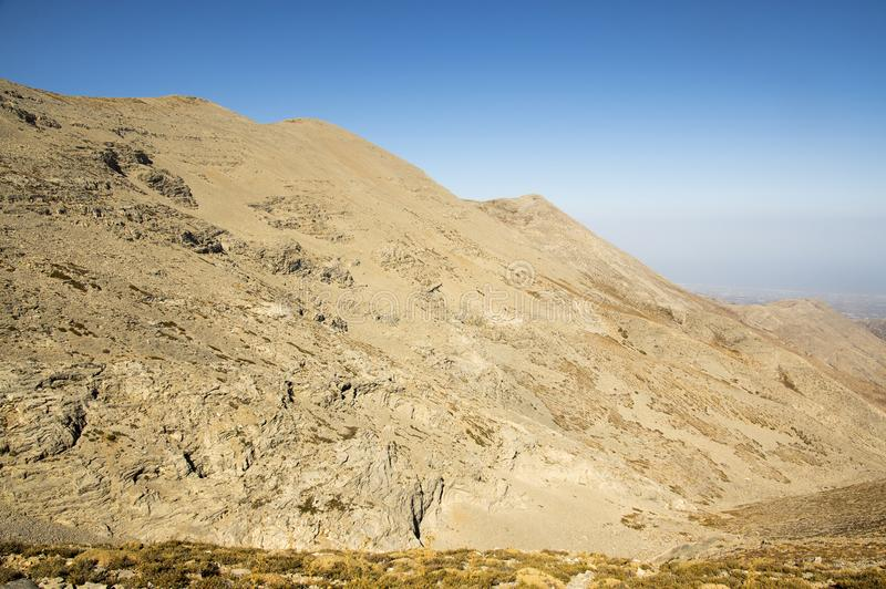 Greek Crete mountain range with highest mountain Ida Psiloritis, very dry hard terrain with sharp rocks and stones, natura park stock images