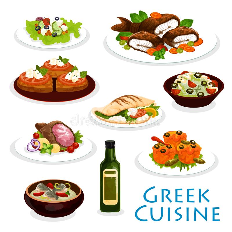 Greek cuisine dinner icon with mediterranean food. Greek cuisine icon with mediterranean food. Vegetable salad, meat and feta cheese on pita bread, stuffed royalty free illustration