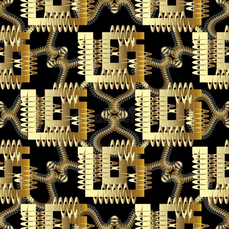Greek 3d vector seamless pattern. Modern abstract geometric patterned background. Doodle fantastic shapes, spiral, greek key, me vector illustration