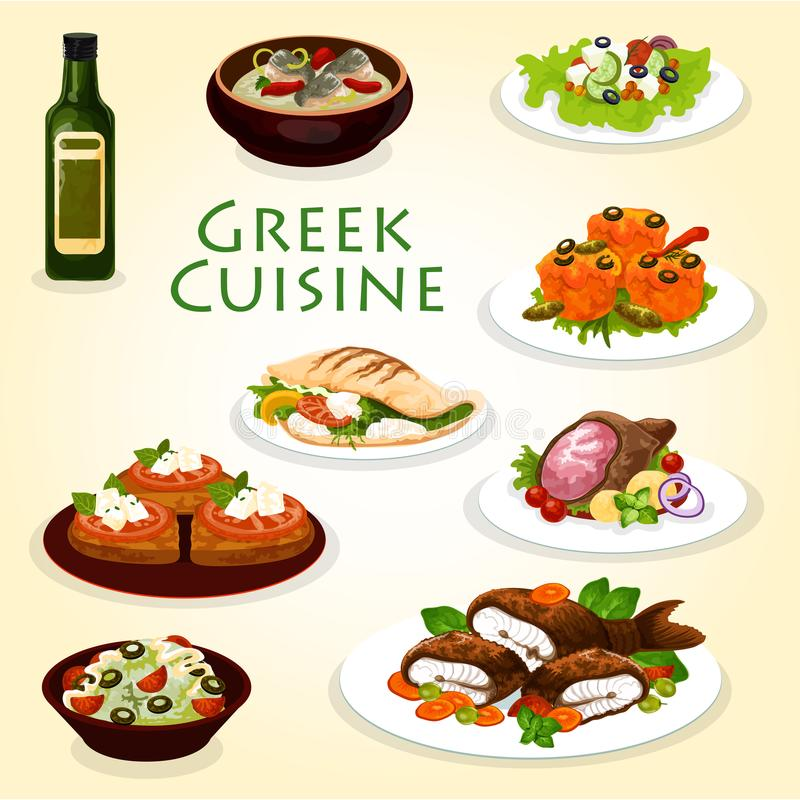 Greek dinner icon with mediterranean cuisine food. Greek dinner icon with healthy mediterranean cuisine food. Vegetable and cheese salad, meat and feta in pita royalty free illustration