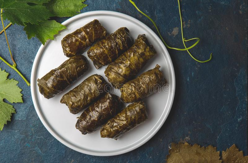 Greek dolmadakia. Rice and meat wrapped in grape leaves. White plate, Blue background.  royalty free stock image