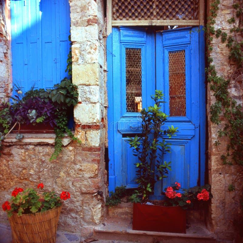 Greek Door Royalty Free Stock Photography