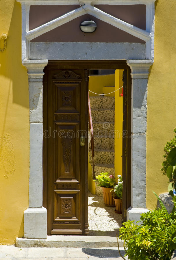 Download Greek doorway stock image. Image of house, classic, characteristic - 10523235