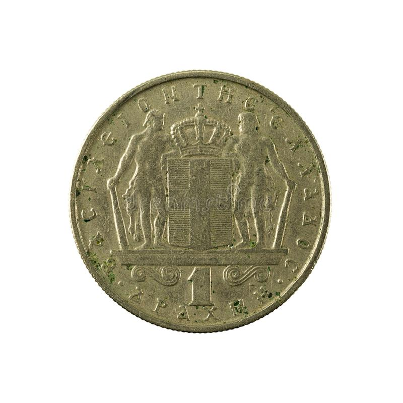 1 greek drachma coin 1967 obverse. Isolated on white background royalty free stock photography