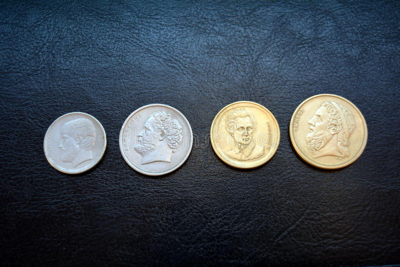 Greek drachma - coins of various denominations stock image