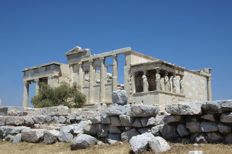 Greek Erecthion with Caryatids royalty free stock photos
