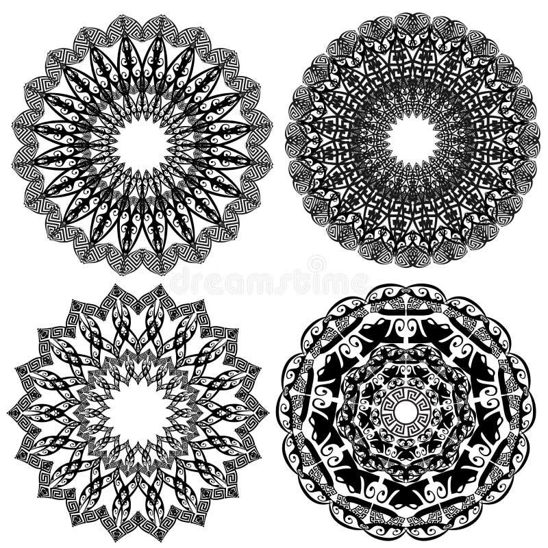 Greek ethnic vector round mandala patterns set. Floral ornate background. Geometric greek key meander ancient ornaments. Flowers, vector illustration
