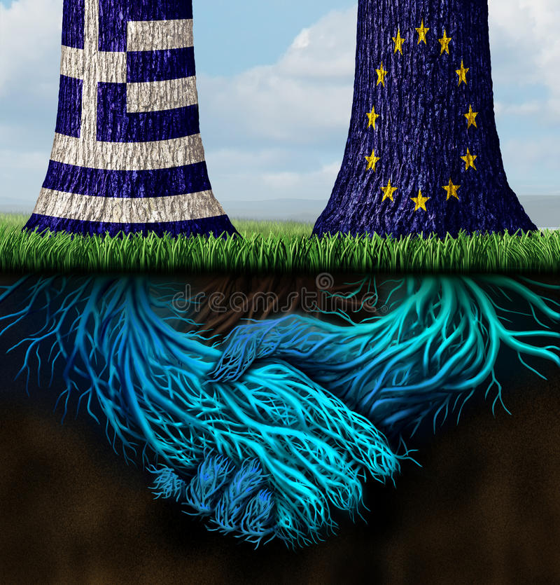 Greek Europe Agreement. For a bailout and Greece Europe success concept as two trees with underground roots shaped as shaking hands with the European union and stock illustration