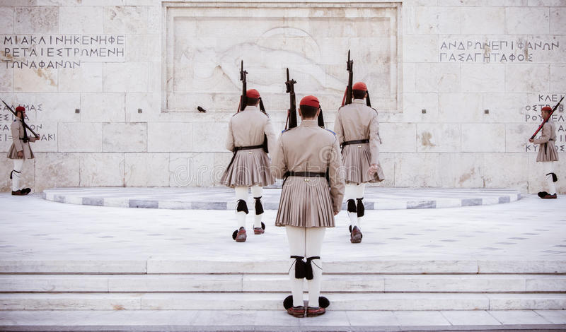 Greek evzone soldiers stock photography