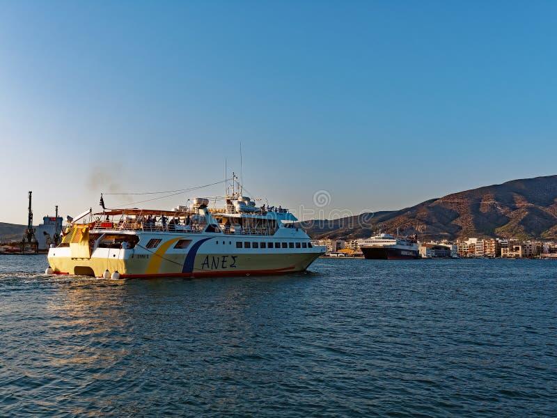Greek Ferry Entering Volos Port stock image