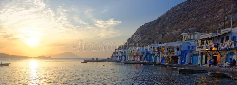 Greek fishing village at sunset - Syrmata royalty free stock photo