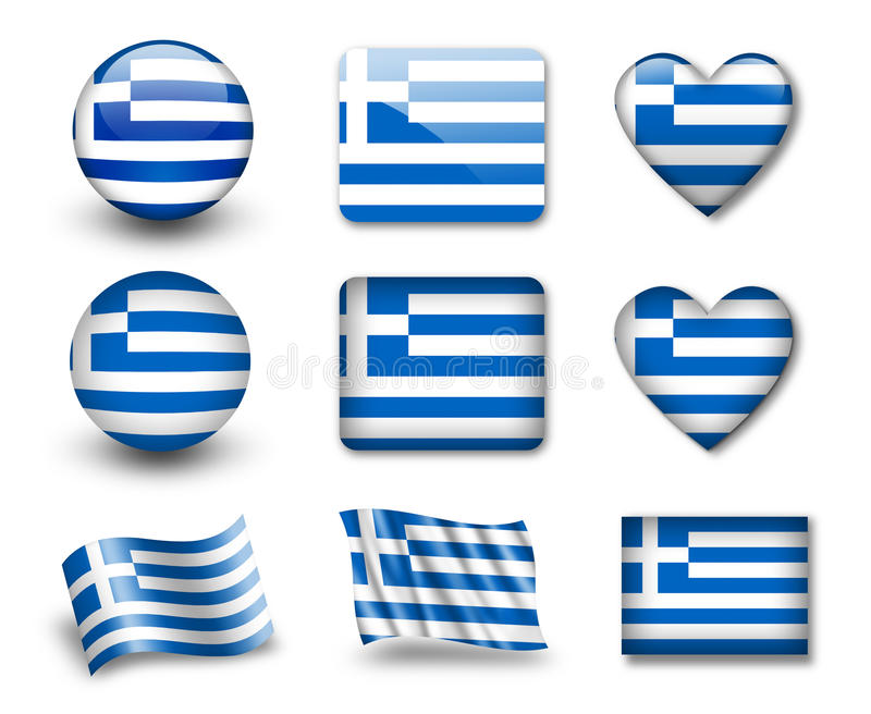 The Greek flag stock illustration