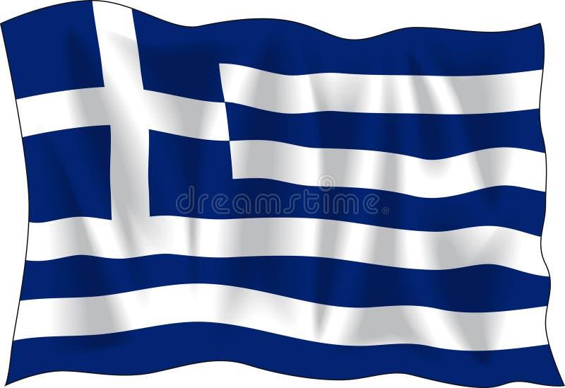 Greek flag. Waving flag of Greece isolated on white