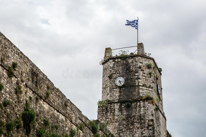 Greek flag on the castle tower.  stock photography