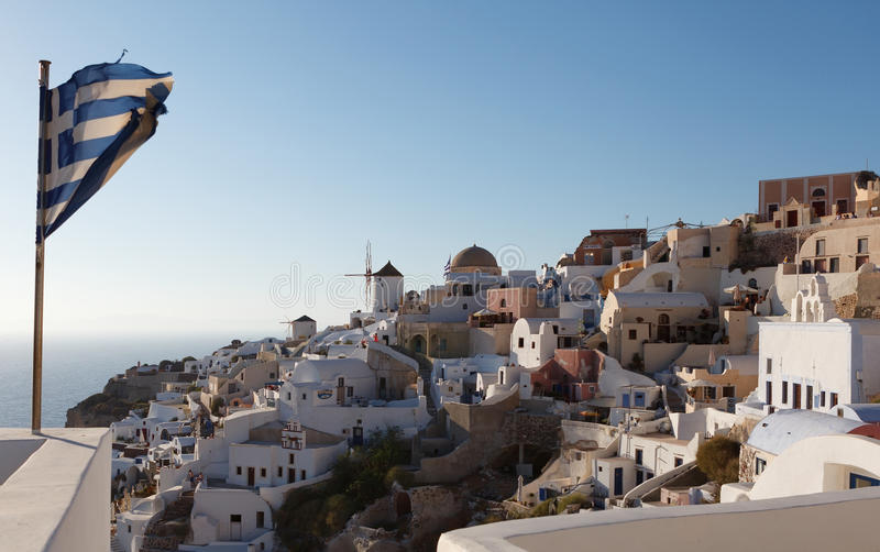 Download Greek Flag In Oia Village At Santorini Island Stock Image - Image: 27408879