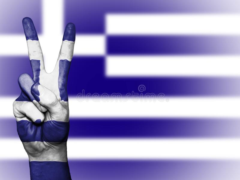 Greek flag and peace sign