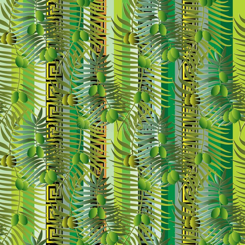 Greek floral olive branches and leaves 3d seamless pattern. stock illustration