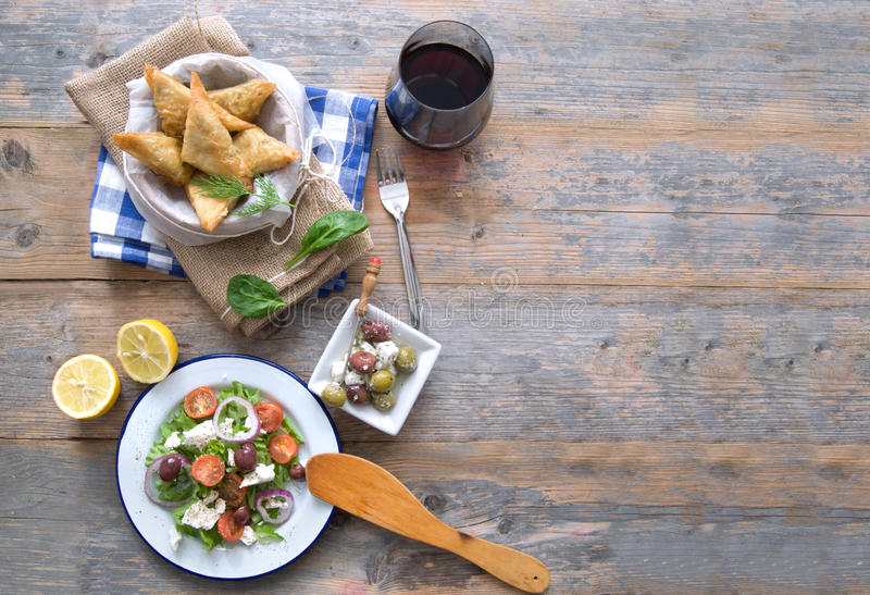 Greek food background royalty free stock photography