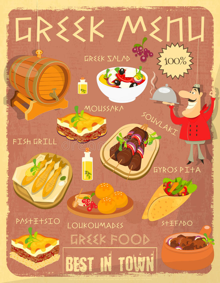 Greek Food Menu. Card with Traditional Meal. Retro Vintage Design. Greek Cuisine. Food Collection. Vector Illustration royalty free illustration