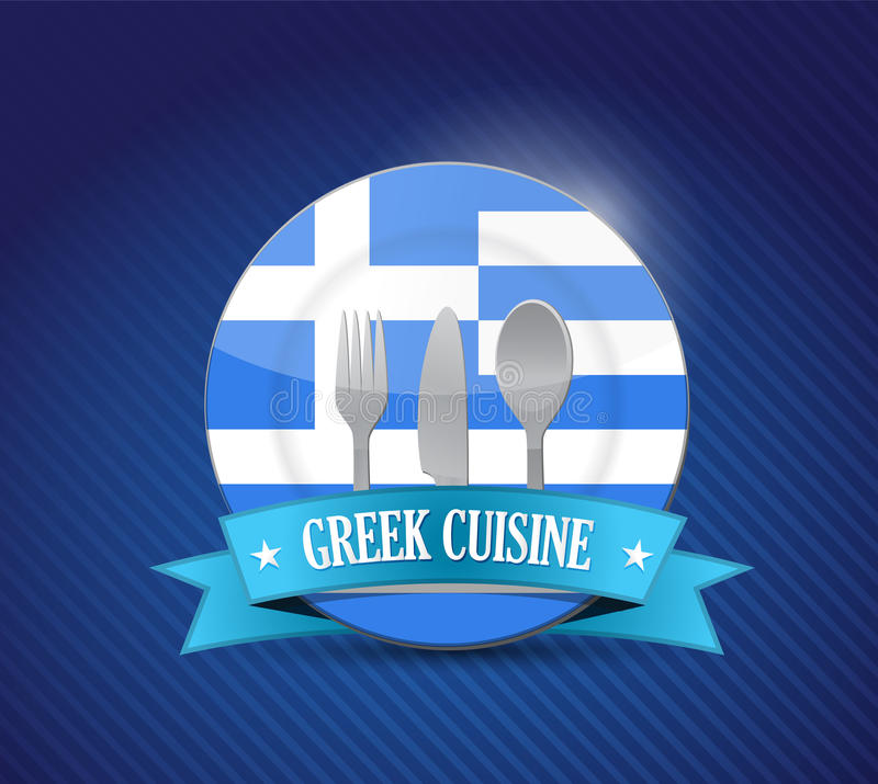 Greek food restaurant concept illustration design royalty