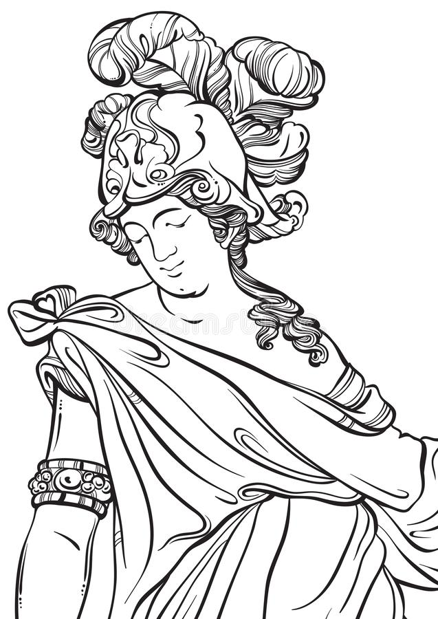 Greek God in line style. Great template for coloring book page. Classicism. Ancient Greece. Myths and legends. Black and white vector artwork isolated royalty free illustration