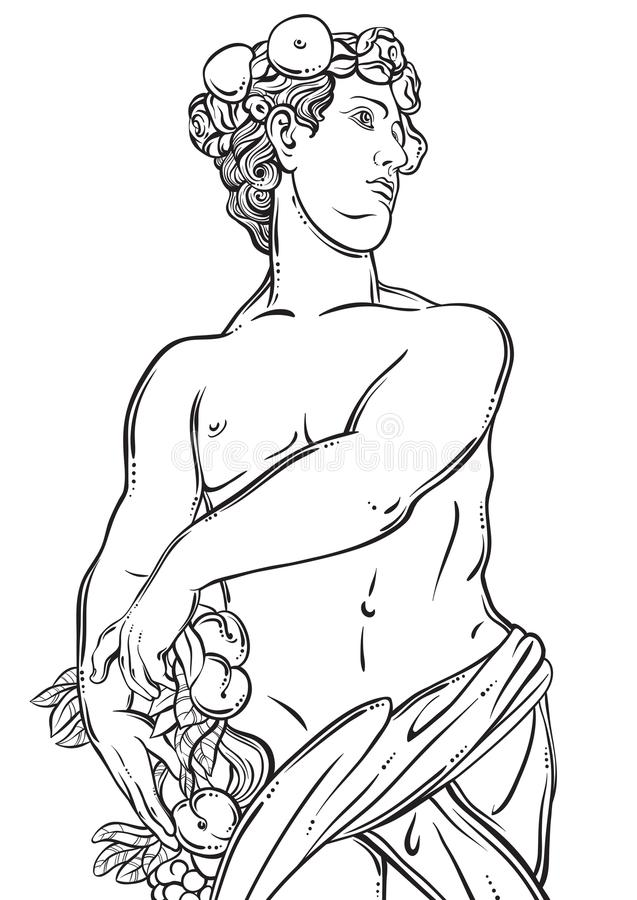 Greek God in line style. Great template for coloring book page. Classicism. Ancient Greece. Myths and legends. Black and white vector artwork isolated stock illustration