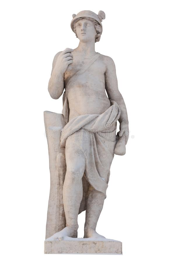 Greek god Mercury isolate. Mercury was a messenger and a god of trade, profit and commerce. Sculpture of the ancient Greek god Mercury isolate. Mercury was a royalty free stock photo