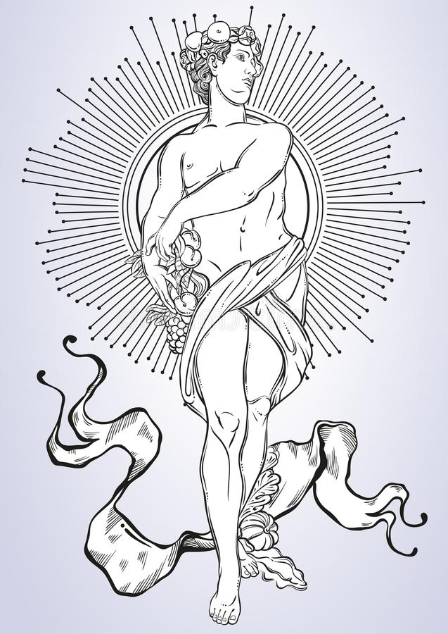 Greek God, the mythological hero of ancient Greece. Hand-drawn beautiful vector artwork . Classicism. Myths and legends. T. Attoo art, prints, posters, cards royalty free illustration