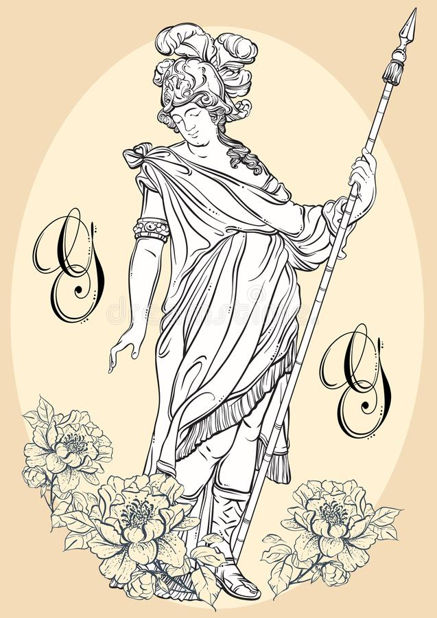 Greek God, the mythological hero of ancient Greece. Hand-drawn beautiful vector artwork isolated. Classicism. Myths and legends. Great for avatars. Tattoo art stock illustration