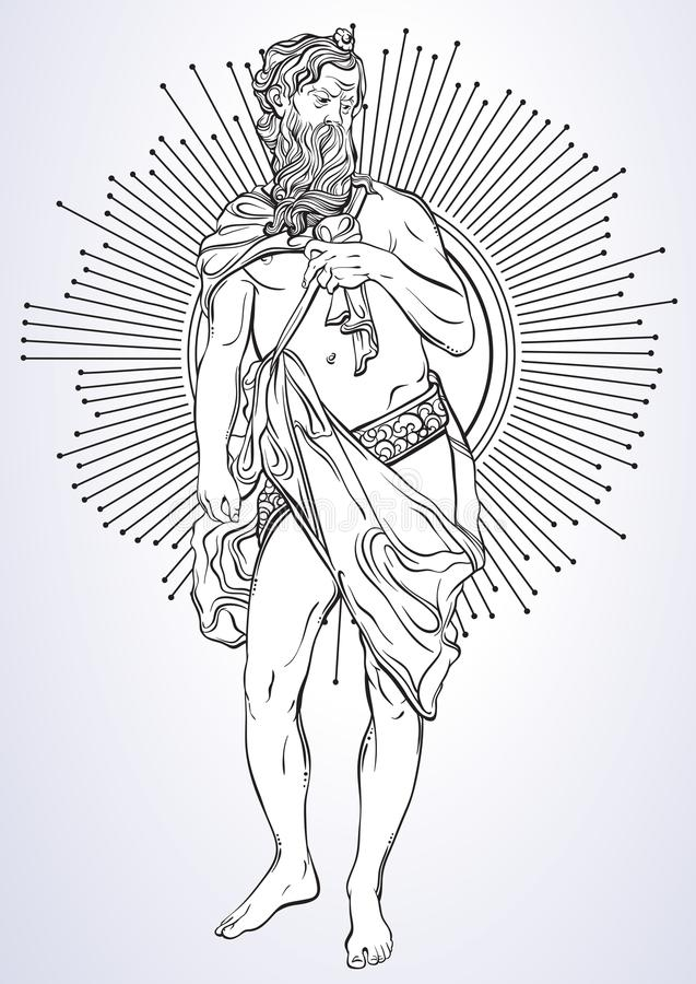 Greek God, the mythological hero of ancient Greece. Hand-drawn beautiful vector artwork isolated. Classicism. Myths and legends. Tattoo art, prints, posters royalty free illustration