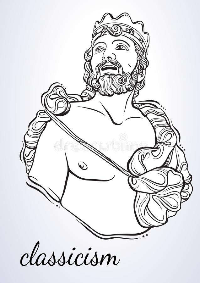 Greek God, the mythological hero of ancient Greece. Hand-drawn beautiful vector artwork isolated. Classicism. Myths and legends. Tattoo art, prints, posters stock illustration