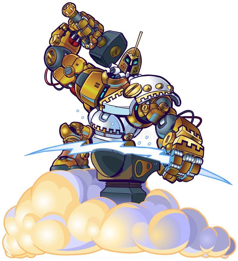 Greek God Robot Forging Lighting Bolt on a Cloud stock illustration