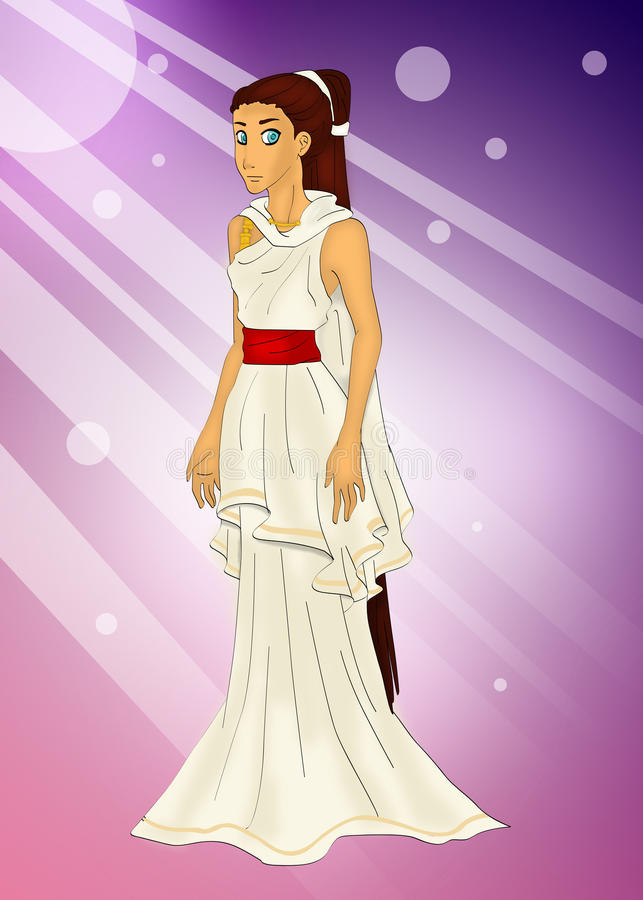 Greek Goddess. A Illustration drawing of the Greek Goddess Ananke her was the personification of destiny, necessity and fate, depicted as holding a spindle royalty free illustration