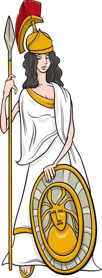 Greek goddess athena cartoon. Cartoon Illustration of Mythological Greek Goddess Athena royalty free illustration