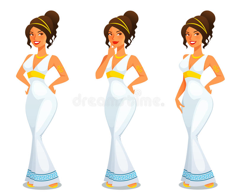 Greek goddess of beauty Aphrodite. Cute cartoon illustration of a Greek goddess of beauty Aphrodite stock illustration