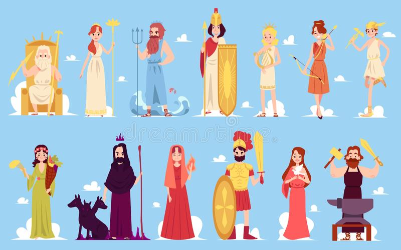Greek goddess. Characters of ancient Hellenic and Roman legends and mythology set of flat vector icon illustrations on a blue background. Male and female stock illustration