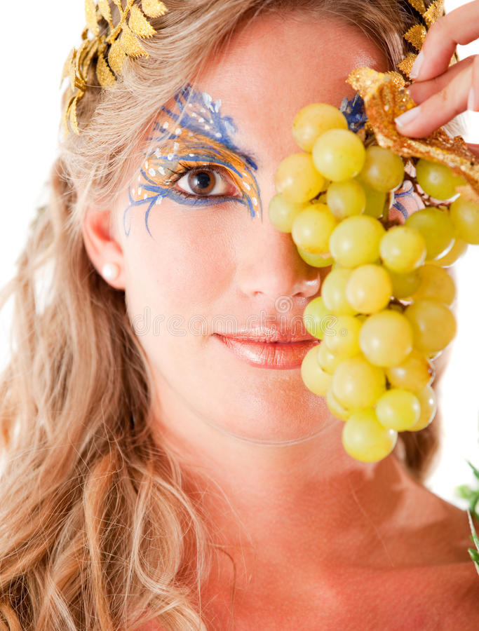 Download Greek goddess with grapes stock image. Image of cute - 20939737