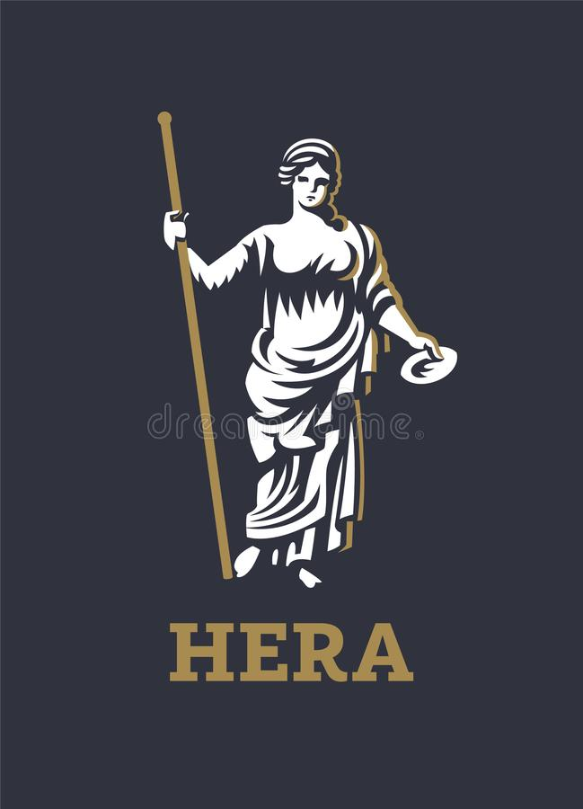 Greek goddess Hera. Vector illustration. The Greek goddess Hera or Juno. Vector illustration stock illustration
