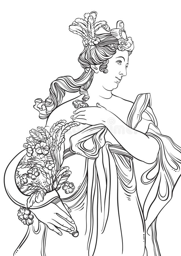 Greek Goddess in line style. Great template for coloring book page. Classicism. Ancient Greece. Myths and legends. Black and white vector artwork isolated stock illustration