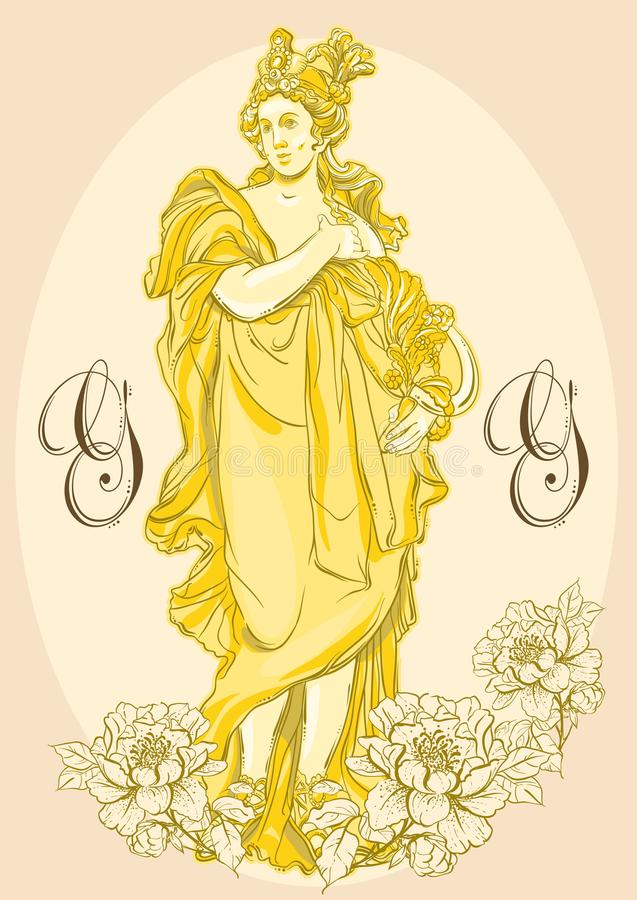 Greek Goddess, the mythological hero of ancient Greece. Hand-drawn beautiful vector artwork isolated. Classicism. Myths and legends. Great for avatars. Tattoo vector illustration