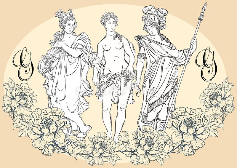 Greek Gods, the mythological heroes of ancient Greece. Hand-drawn beautiful vector artwork isolated. Classicism. Myths and legends. Great for avatars. Vintage vector illustration