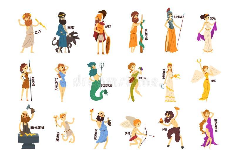 Greek Gods set, Dionysus, Hermes, Hephaestus,Zeus, Hades, Poseidon, Aphrodite, Artemis ancient Greece mythology. Characters character vector Illustrations vector illustration