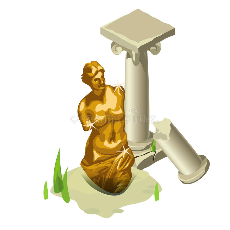 Greek gold statue and ruined column vector illustration