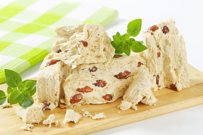 Greek halva with almonds stock photo